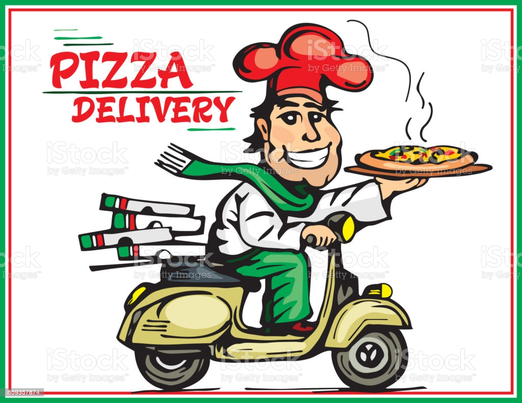 Pizza delivery. Hand drawn.